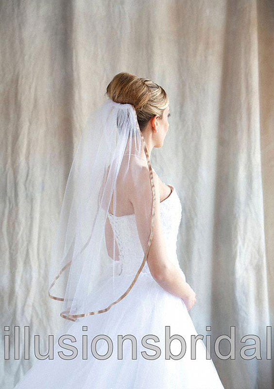 Illusions Bridal Colored Veils and Edges 5-301-3R-CF-CF with Cafe Ribbon Edge