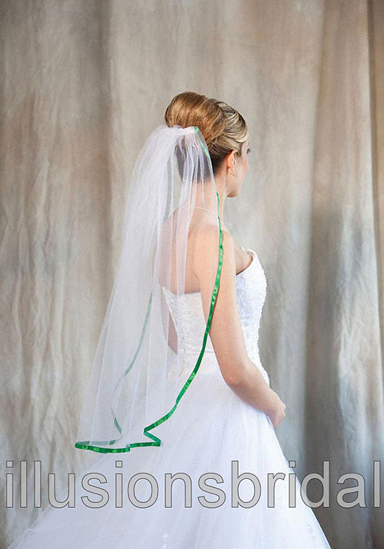 Illusions Bridal Colored Veils and Edges 5-301-3R-EM with Emerald Ribbon Edge