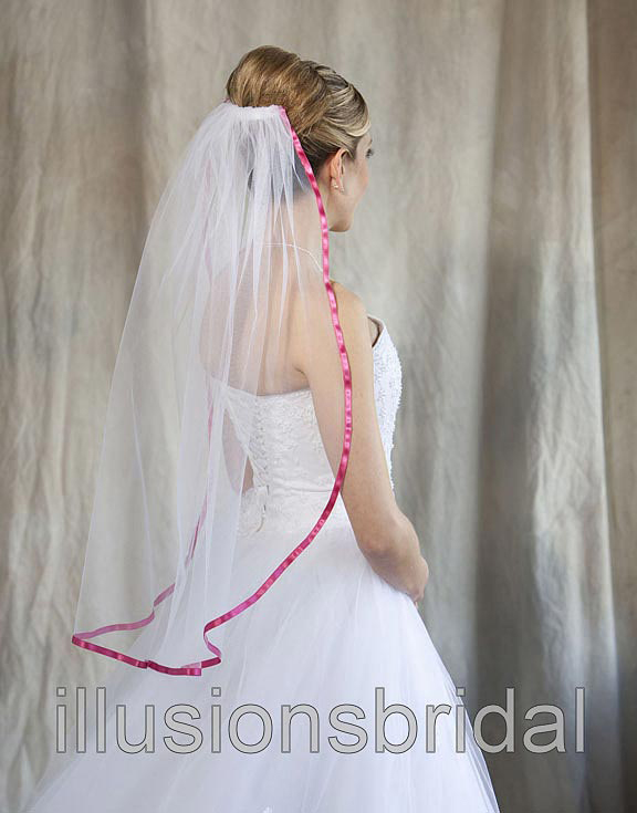Illusions Bridal Colored Veils and Edges 5-301-3R-FS with Fuschia Ribbon Edge