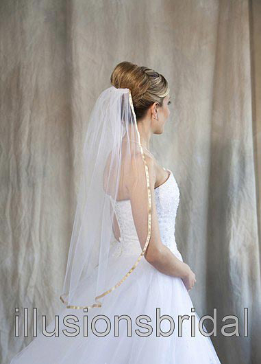 Illusions Bridal Colored Veils and Edges 5-301-3R-G with Gold Ribbon Edge