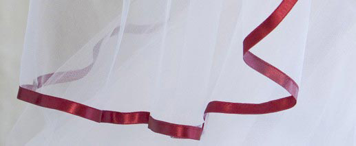 Illusions Bridal Colored Veils and Edges 5-301-3R-GT with Garnet Ribbon Edge