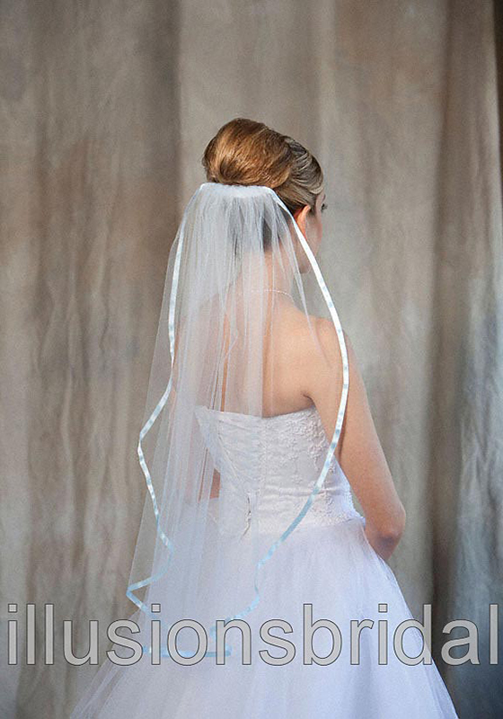 Illusions Bridal Colored Veils and Edges 5-301-3R-LB-LB: Light Blue