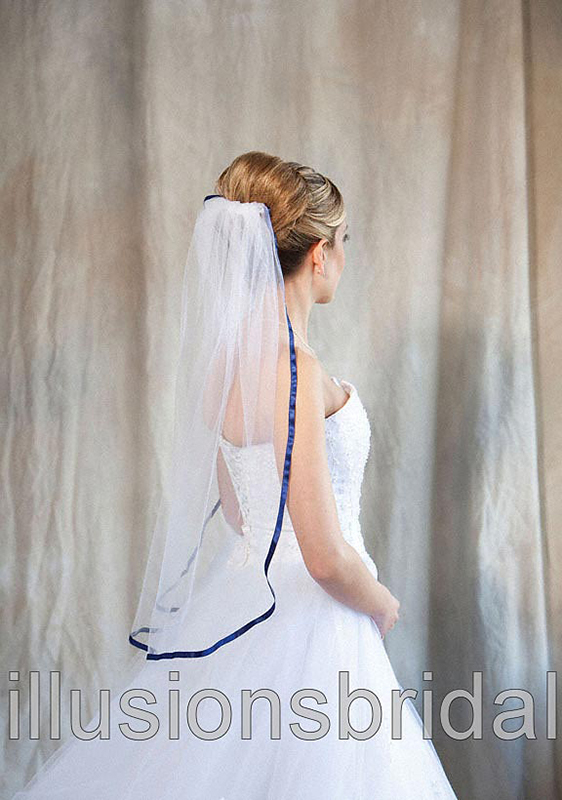 Illusions Bridal Colored Veils and Edges 5-301-3R-NB with Navy Blue Ribbon Edge