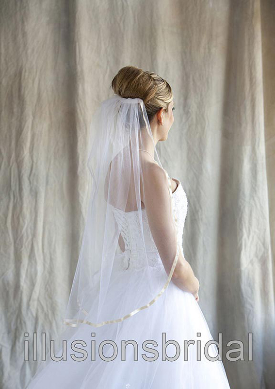 Illusions Bridal Colored Veils and Edges 5-301-3R-O with Oyster Ribbon Edge