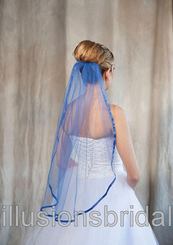 Illusions Bridal Colored Veils and Edges 5-301-3R-RB-RB: Royal Blue