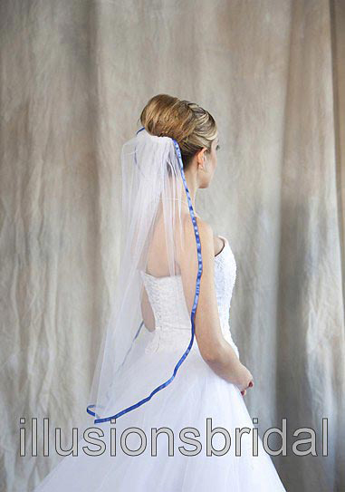 Illusions Bridal Colored Veils and Edges 5-301-3R-RB with Royal Blue Ribbon Edge