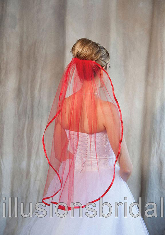 Illusions Bridal Colored Veils and Edges 5-301-3R-RD-RD: Red
