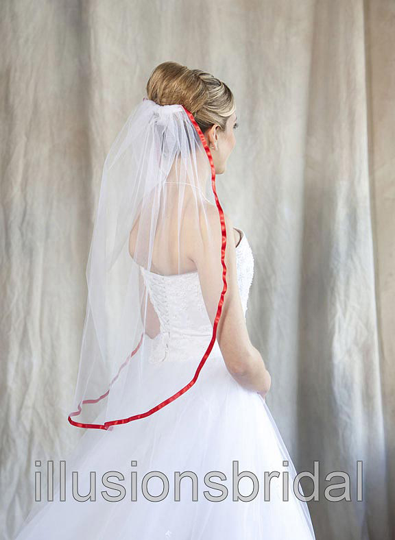 Illusions Bridal Colored Veils and Edges 5-301-3R-RD with Red Ribbon Edge
