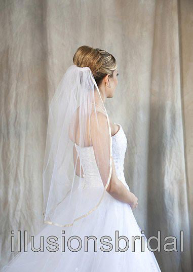 Illusions Bridal Colored Veils and Edges 5-301-3R-RP with Rum Pink Ribbon Edge