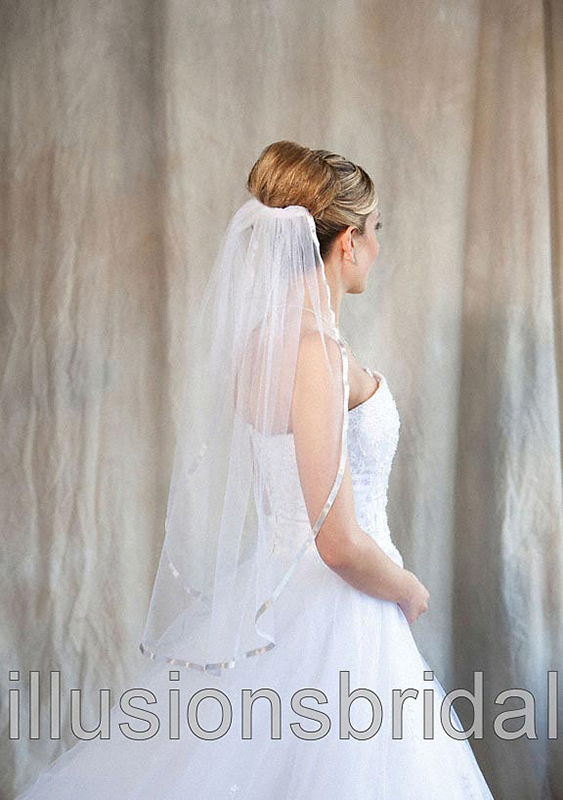 Illusions Bridal Colored Veils and Edges 5-301-3R-S with Silver Ribbon Edge