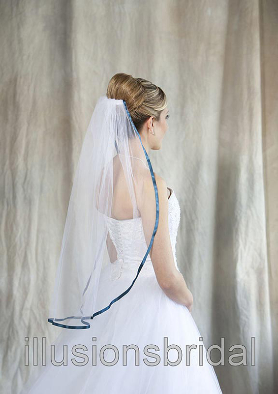 Illusions Bridal Colored Veils and Edges 5-301-3R-TL with Teal Ribbon Edge