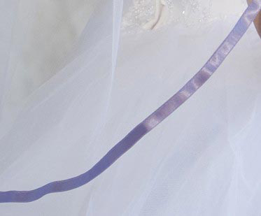 Illusions Bridal Colored Veils and Edges 5-301-3R-VL with Lilac Ribbon Edge