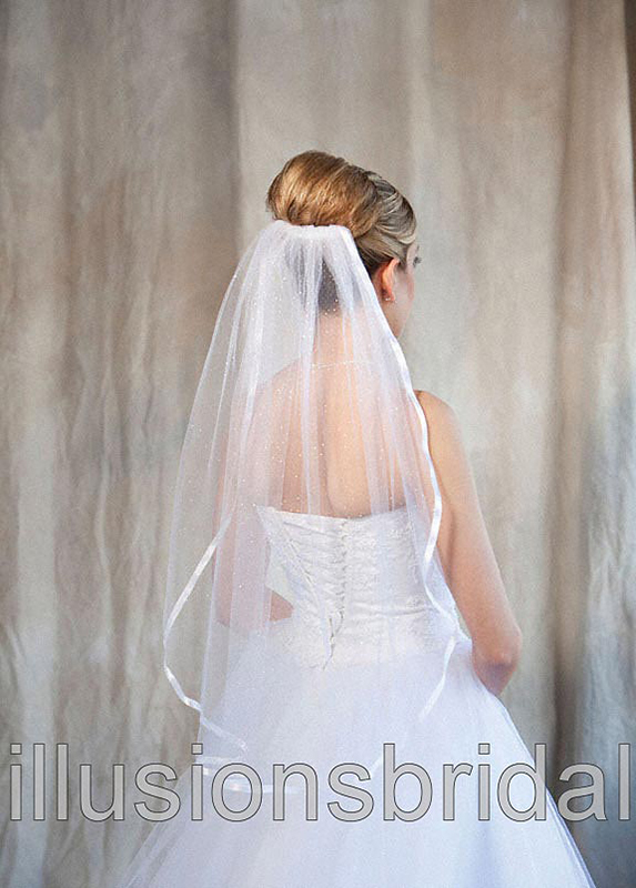 Illusions Bridal Colored Veils and Edges 5-301-3R-W-GL: Glimmer