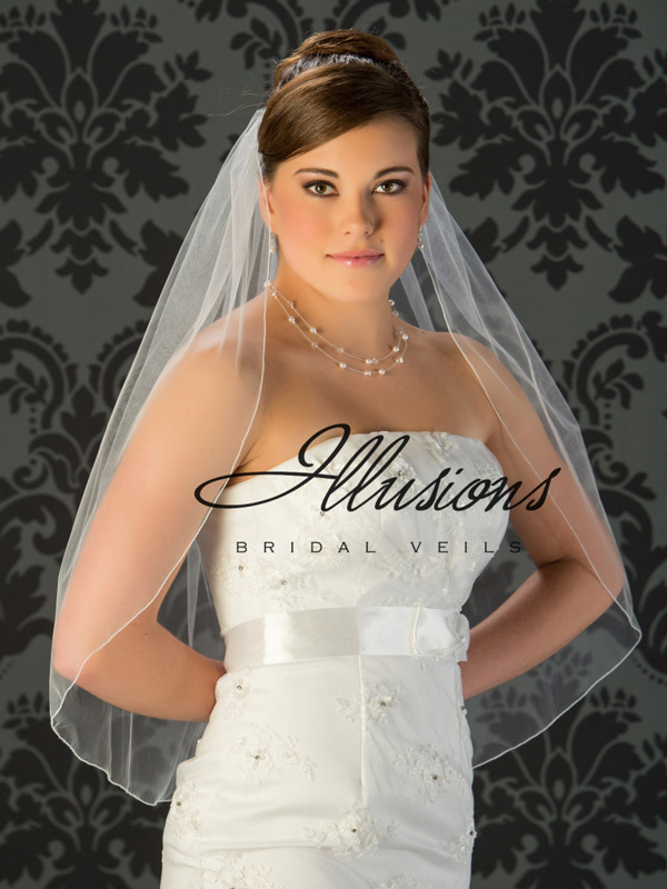 Illusions Bridal Corded Edge Veil 5-301-C: Pearl Accent