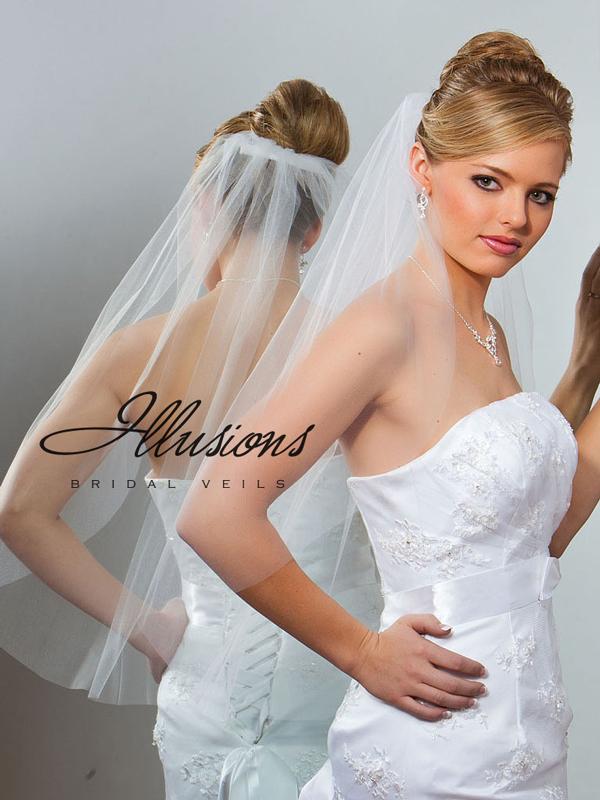Illusions Bridal Cut Edge Veil 5-301-CT: Rhinestone Accent