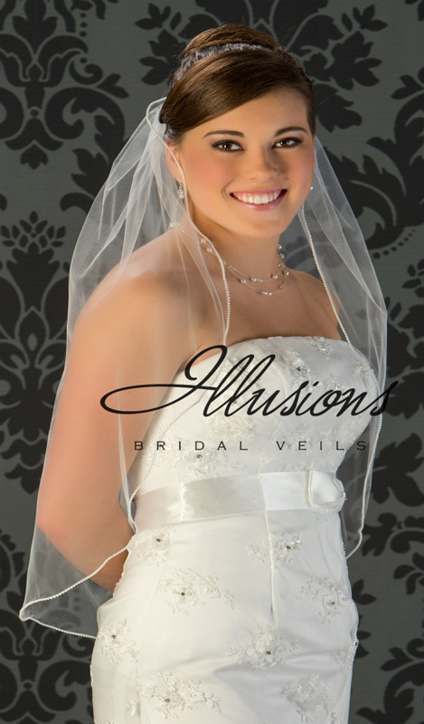Illusions Bridal Pearl Edge Wedding Veil 5-301-P: Pearl Accent, 1 Layer Waist Length
