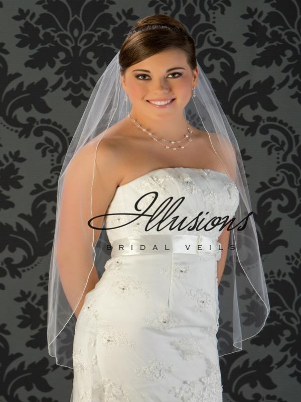Illusions Bridal Corded Edge Veil 5-361-C: Rhinestone Accent
