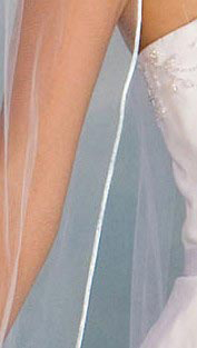 Illusions Bridal Colored Veils and Edges 5-721-RT-LB with Light Blue Rattail Edge: Rhinestone Accent