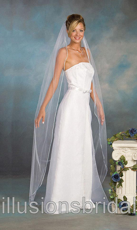 Illusions Bridal Colored Veils and Edges 5-721-RT-LB with Light Blue Rattail Edge