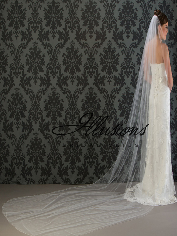 Illusions Bridal Corded Edge Veil 7-1441-C: Pearl Accent
