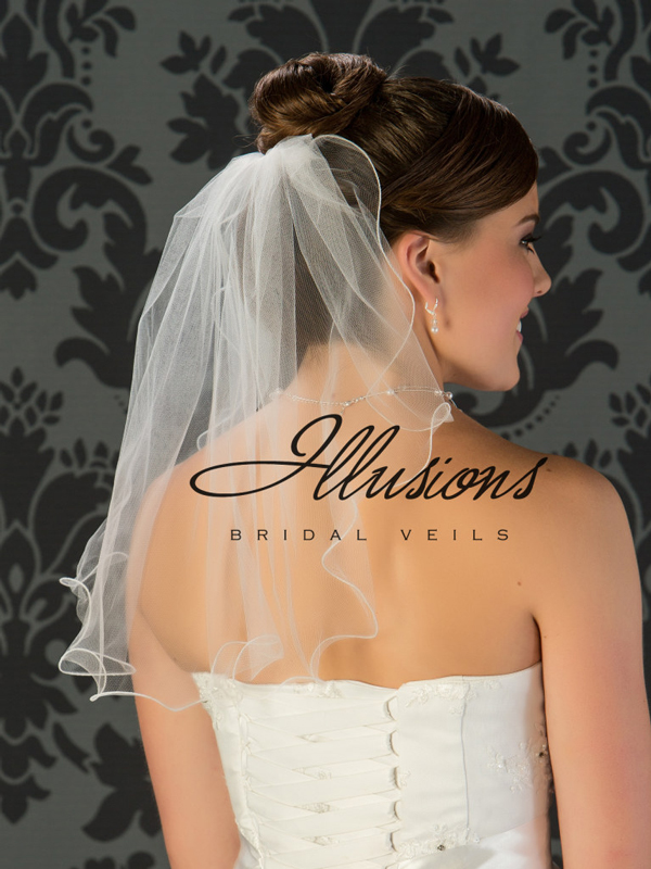 Illusions Bridal Filament Edge Wedding Veil 7-201-F: Elbow Length