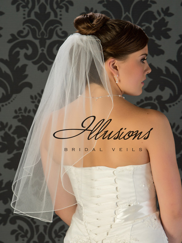 Illusions Bridal Corded Edge Veil 7-251-C: Rhinestone Accent, Waist Length, Simple