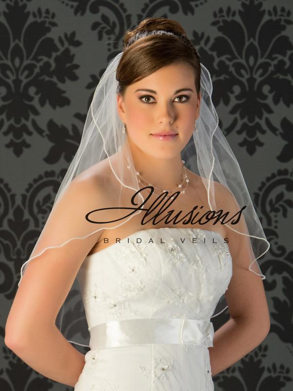 Illusions Bridal Pearl Edge Veil 7-251-P: Rhinestone Accent