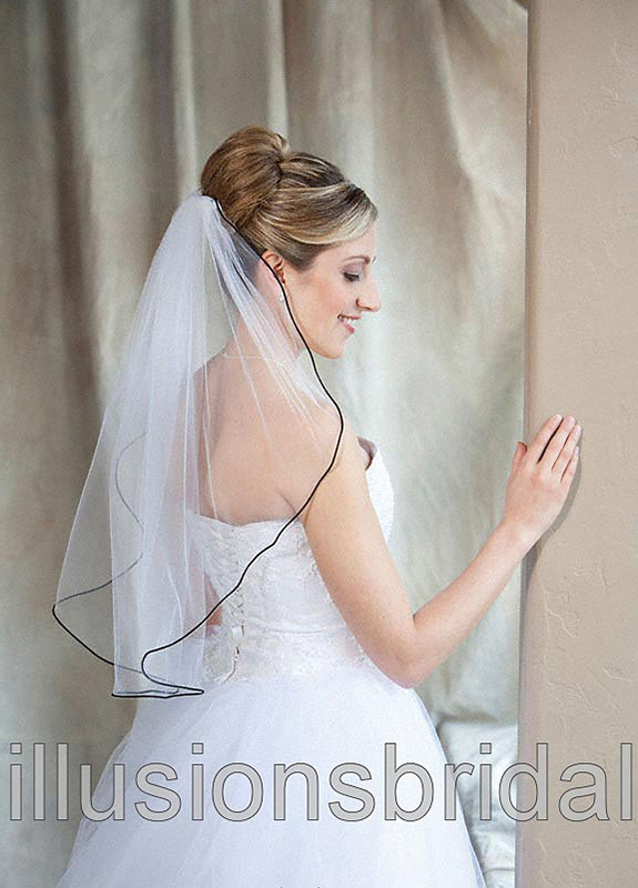 Illusions Bridal Colored Veils and Edges 7-251-RT-BK