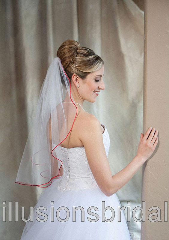 Illusions Bridal Colored Veils and Edges 7-251-RT-RD