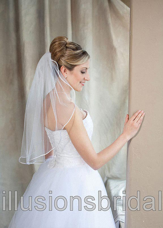 Illusions Bridal Colored Veils and Edges 7-251-RT-WG