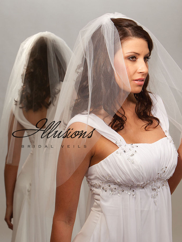 Illusions Bridal Cut Edge Veil 7-301-CT: Pearl Accent