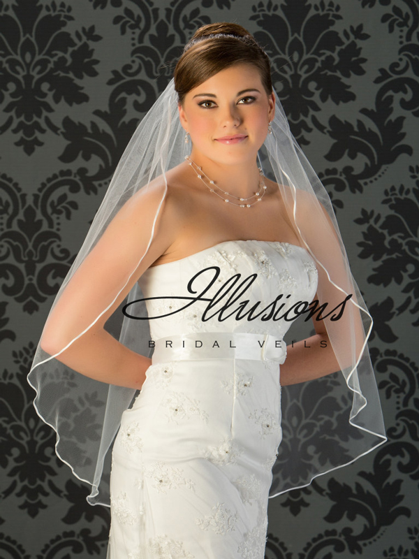 Illusions Bridal Ribbon Edge Wedding Veil 7-361-1R: Pearl Accent, White Fingertip Length
