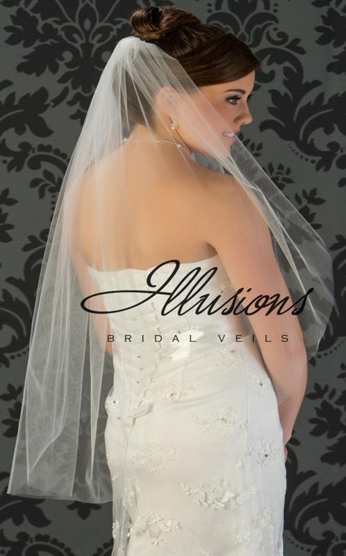 Illusions Bridal Cut Edge Veil 7-361-CT: Rhinestone Accent