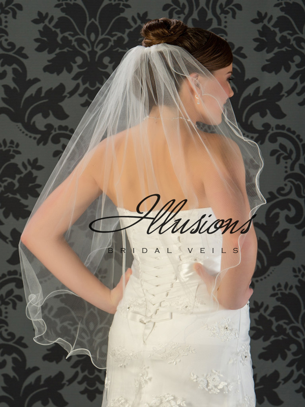Illusions Bridal Filament Edge Veil 7-361-F: Pearl Accent