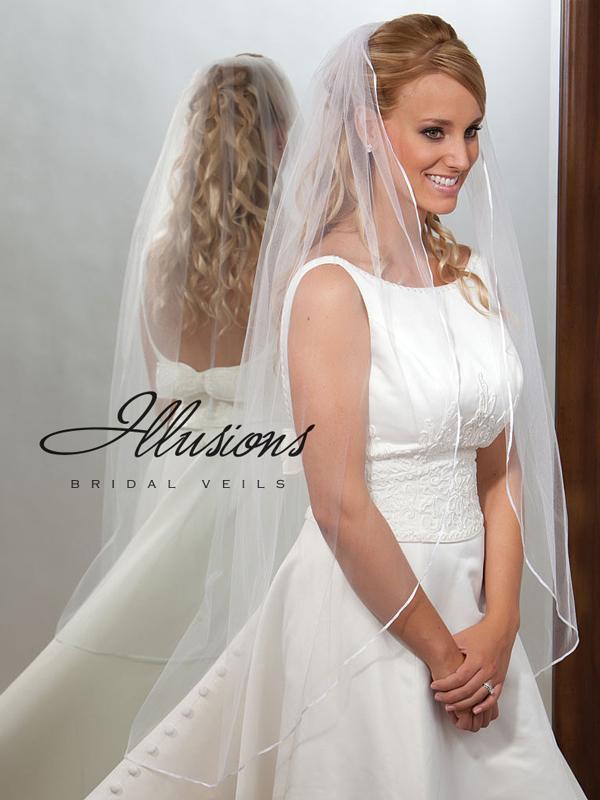 Illusions Bridal Ribbon Edge Veil 7-451-1R: Pearl Accent