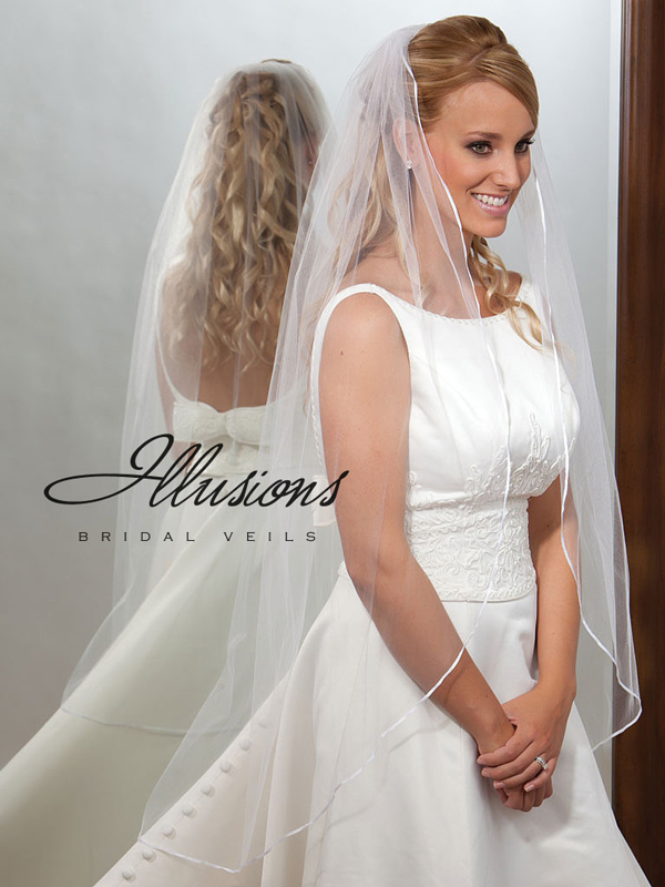 Illusions Bridal Ribbon Edge Veil 7-451-1R: Rhinestone Accent