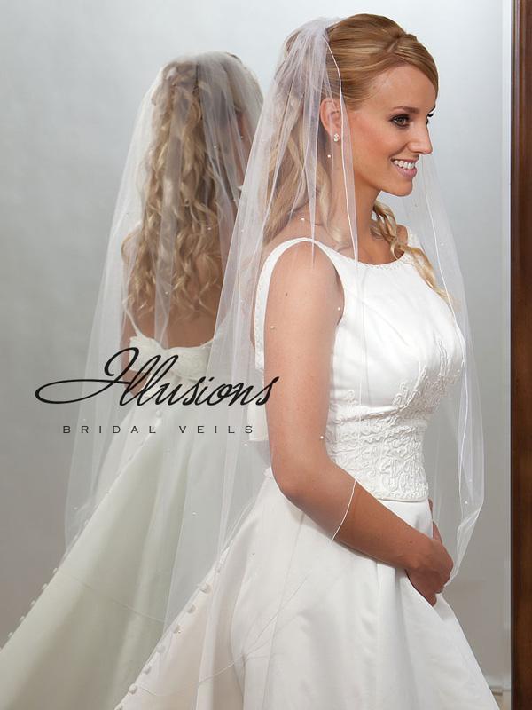 Illusions Bridal Corded Edge Veil 7-451-C: White Knee Length