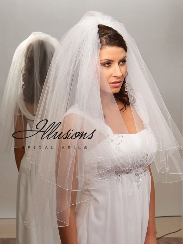 Illusions Bridal Corded Edge Veil C1-302-C: Rhinestone Accent