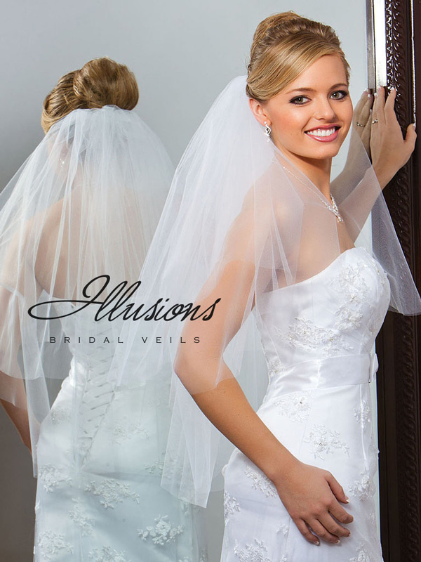 Illusions Bridal Cut Edge Veil C1-302-CT: Pearl Accent