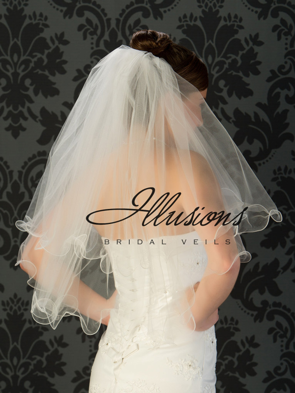 Illusions Bridal Filament Edge Veil C1-302-F: Pearl Accent, Pretty Wedding