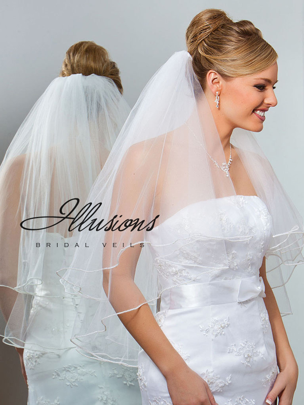 Illusions Bridal Pearl Edge Veil C1-302-P: Pearl Accent