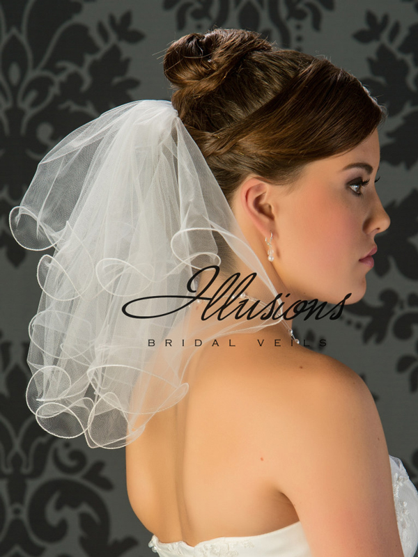 Illusions Bridal Filament Edge Veil C5-152-F: Rhinestone Accent