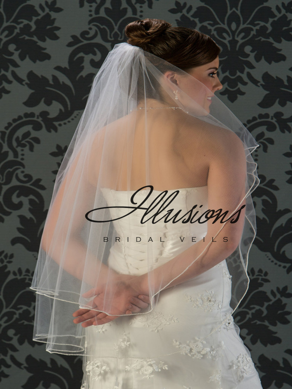 Illusions Bridal Pearl Edge Veil C5-362-P: Pearl Accent
