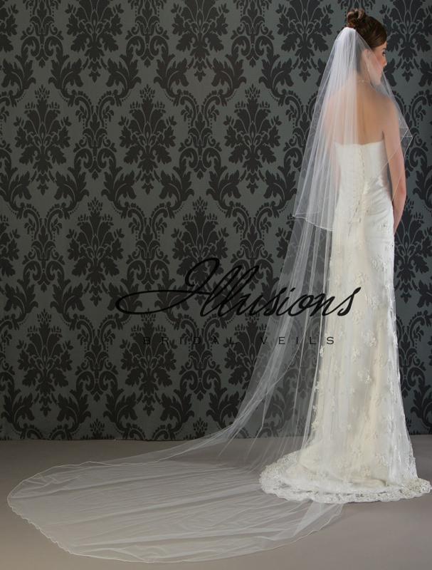 Illusions Bridal Corded Edge Veil C7-1202-C: Pearl Accent