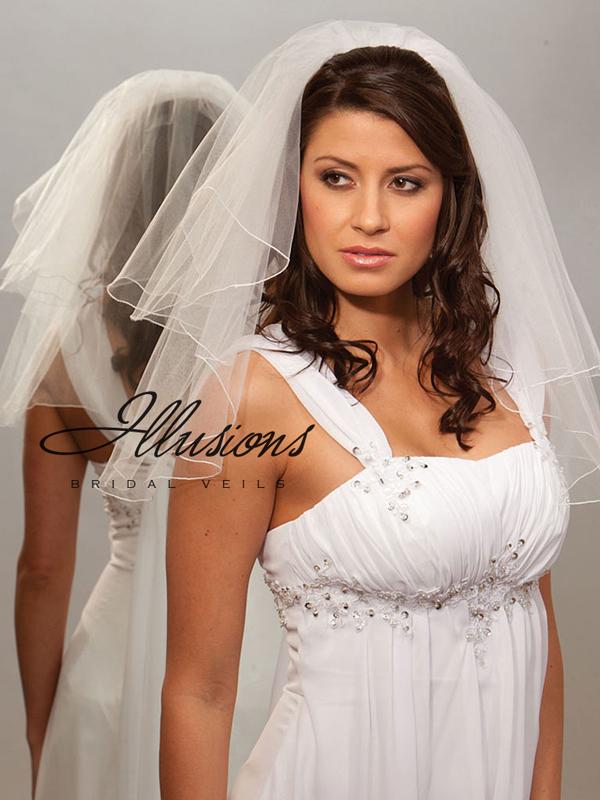 Illusions Bridal Corded Edge Veil C7-202-C: Rhinestone Accent