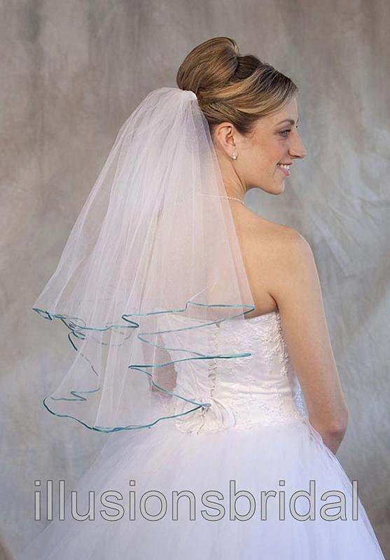 Illusions Bridal Colored Veils and Edges C7-252-1R-AQ