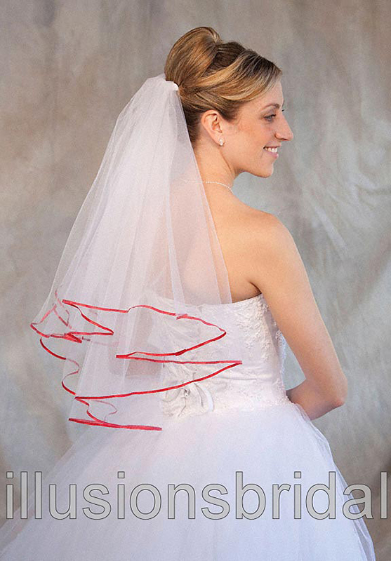 Illusions Bridal Colored Veils and Edges C7-252-1R-RD