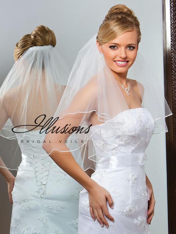 Illusions Bridal Soutache Edge Veil C7-252-ST: Pearl Accent