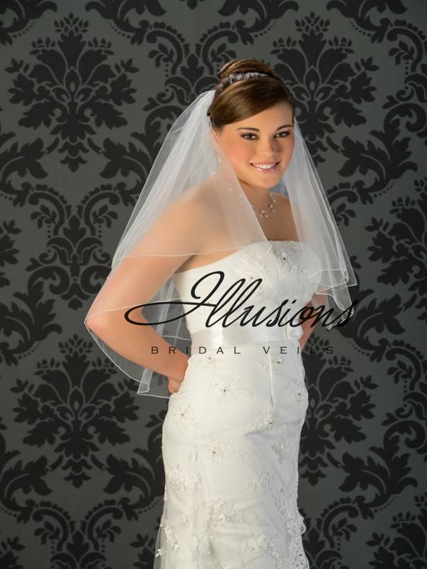 Illusions Bridal Corded Edge Veil C7-302-C: Rhinestone Accent