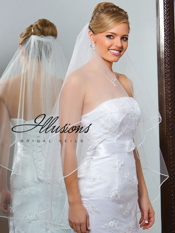 Illusions Bridal Soutache Edge Veil C7-362-ST: Rhinestone Accent